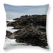 Stormy Giant's Causeway Throw Pillow