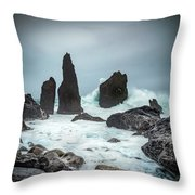 Stormy Iclandic Seas Throw Pillow