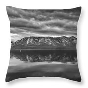 Stormy Lake Tahoe Black And White Throw Pillow