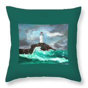 Stormy Ligthouse Throw Pillow