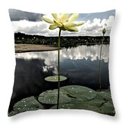 Stormy Lotus Throw Pillow