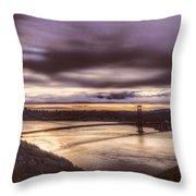 Stormy Morning Sf Bay Bridge Throw Pillow