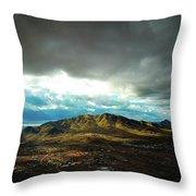 Stormy Mountains In Sunlight Throw Pillow