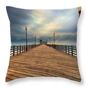 Stormy Oceanside Sunset Throw Pillow