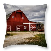 Stormy Red Barn Throw Pillow