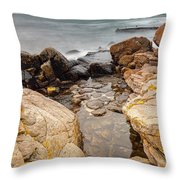 Stormy Rock Beach Throw Pillow