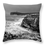 stormy sea - Slow waves in a rocky coast black and white photo by pedro cardona Throw Pillow