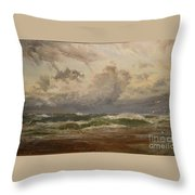 Stormy Sea At Bude Throw Pillow