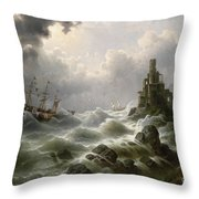 Stormy Sea With Lighthouse On The Coast Throw Pillow