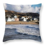 Stormy Seafront - Lyme Regis Throw Pillow