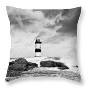 Stormy Seas Black And White Throw Pillow