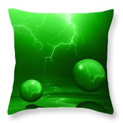 Stormy Skies - Green Throw Pillow
