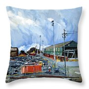 Stormy Sky Over Shipyard And Steel Mill Throw Pillow