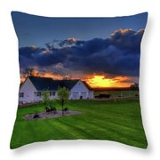 Stormy Sunset In The Country Throw Pillow