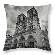 Stormy Views Of Notre-dame Throw Pillow