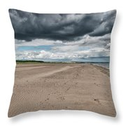 Stormy Weather Over Tentsmuir Beach In Scotland Throw Pillow