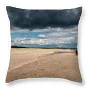 Stormy Weather Over The Beach In Scotland Throw Pillow