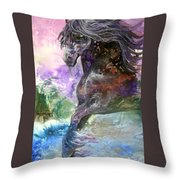 Stormy Wind Horse Throw Pillow