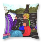 Story-time On Grand Mom's Porch Throw Pillow