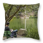 Stow Lake Throw Pillow by Kate Brown