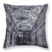 Strahov Monastery Philosophical Hall Bw Throw Pillow