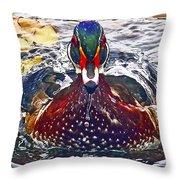 Straight Ahead Wood Duck Throw Pillow
