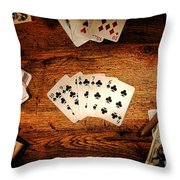 Straight Flush Throw Pillow by Olivier Le Queinec