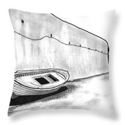 Stranded Boat Throw Pillow