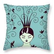 Strange Hairstyle And Flowery Swirls Throw Pillow