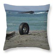 Strange Tire Ad Throw Pillow