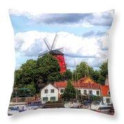 Windmill In Strangnas Sweden Throw Pillow