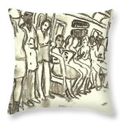 Strap Hangers, Nyc Subway Throw Pillow