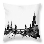Strasbourg Skyline-black Throw Pillow