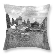 Strasbourg. View From The Barrage Vauban. Black And White 2 Throw Pillow