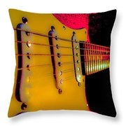 Guitar Pop Art Hot Rasberry Fire Neck Series Throw Pillow