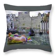 Stravinsky Fountain Near Centre Pompidou In Paris, France Throw Pillow