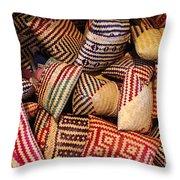 Straw Bags Oaxaca Mexico Throw Pillow