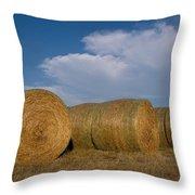 Straw Bales On A Hog Farm In Kansas Throw Pillow