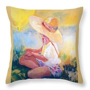 Straw Hat Throw Pillow