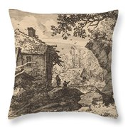 Straw Hut Seen From Behind Throw Pillow