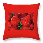 Strawberries Afloat By Kaye Menner Throw Pillow