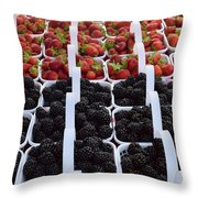 Strawberries And Blackberries Throw Pillow