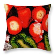 Strawberries And Kiwi Throw Pillow