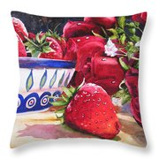 Strawberries And Roses Throw Pillow