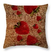 Strawberries And Stone Slab  Throw Pillow