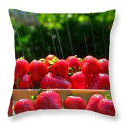 Strawberries And Summer Showers Throw Pillow