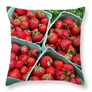 Strawberries In A Box On The Green Grass Throw Pillow