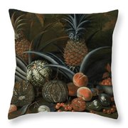 Strawberries In A Porcelain Bowl With Pineapples Melons Peaches And Figs Before A Tropical Landscape Throw Pillow