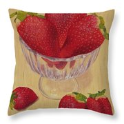 Strawberries In Crystal Dish Throw Pillow
