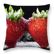 Strawberries Panorama Throw Pillow
